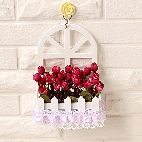 Fiore di emulazione montaggio a parete parete decorazione cesti floreali kit floreali false piante fiorite in stile Europeo di soggiorno ornamenti di legno ,15*7,5*22cm,24
