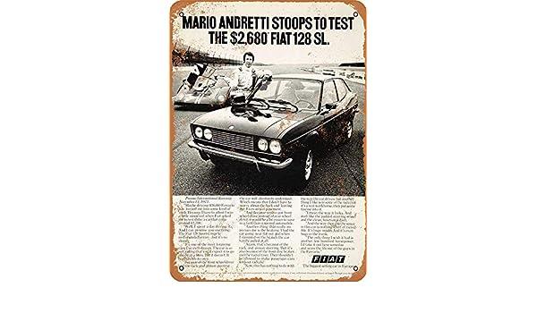 Sary buri Metal Tin Sign Poster 1973 Mario Andretti Fiat 128L Vintage en M/étal Plaque Mur Art Peinture D/écoration