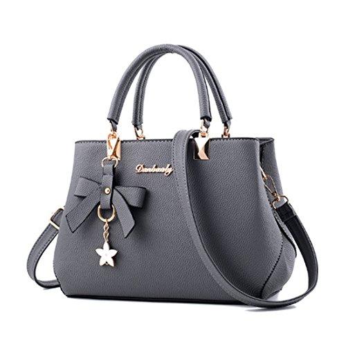 FOLLOWUS Damen Handtaschen PU Leder Schultertasche Messenger Top-Griff Tragetaschen (Grau) (Leder Handtaschen Grau)