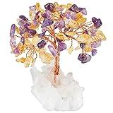 mookaitedecor Amethyst & Citrin Kristallbaum mit Bergkristall als Basis und bewickeln mit Kupferdraht,...