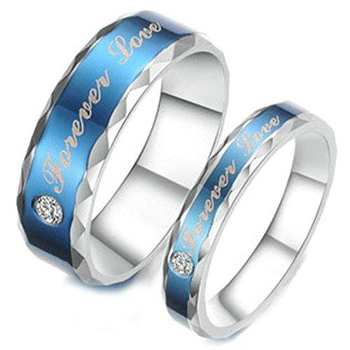 Adisaer Trauringe Edelstahl Freundschaftsring Blau Silber Ring Gravur'Forever Love'CZ Herrenring Größe 60 (19.1) Damenring Größe 57 (18.1) Hochzeit