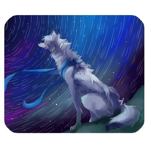 meteor-shower-and-wolf-personalized-rectangle-mouse-pad