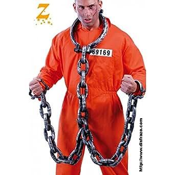 Prisonnier qui s'est tenu dans les chaînes avec des menottes en plastique