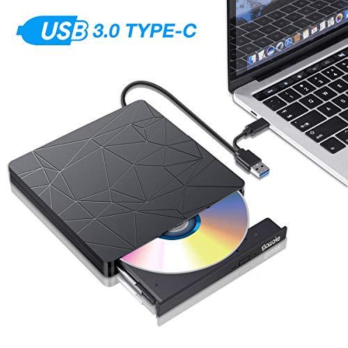 SAWAKE Externes DVD Laufwerk CD Brenner PC Player für Laptop, Desktop, Mac, MacBook, Win 10/8/7/XP, Linux, MacOS, Vista7/8 (tragbar, USB 3.0& Typ-C, Plug&Play, niedriger Lärm)
