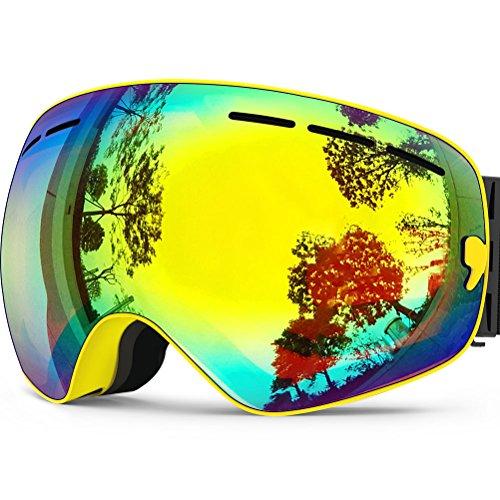 Zionor lagopus x snowboard skate occhiali da sci con staccabile grandangolare lenti con un anti nebbia patinata big sferica professionale unisex (giallo)