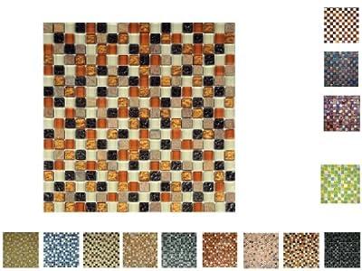 1 QM Glassteinmosaik 15 Darkbrownmix von Mosaikdiscount24 auf TapetenShop