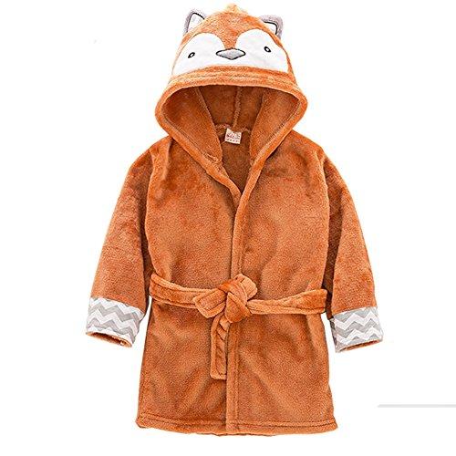 Kostüm Mädchen Fuchs (Cystyle Kinder Junge Mädchen Coral Fleece Morgenmantel Hoodie Cartoon Cosplay Kostüm Bademantel (100/Körpergröße 90-95cm,)