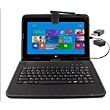 """Etui aspect cuir noir avec clavier intégré AZERTY (français) pour Microsoft Surface Pro et RT 1 et 2 tablettes 10,6"""" + adaptateur USB & stylet tactile BONUS - Garantie 2 ans par DURAGADGET"""