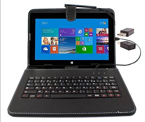 """Etui aspect cuir noir avec clavier intégré AZERTY (français) pour Microsoft Surface Pro et RT 1 et 2 tablettes 10,6"""" + adaptateur USB & stylet tactile BONUS - Garantie 2 ans par DURAGADGET 5054019937449"""