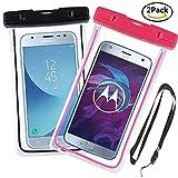 Yould [2 Pack] IPX8 Sac étanche Fluorescent Transparent, Appliquer à pour Nokia 920, Sony S/Sony SP/Sony V, Housse Imperméable Telephone (6''), Profondeur de 15m (Rose Rouge+Noir)