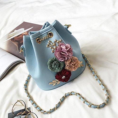 Borsa donne , feiXIANG 2017 Donna nuova moda Applique borsetta Borse borsa borsa Messenger,pu,18cmX12cmX19cm (Blu cielo) Blu cielo