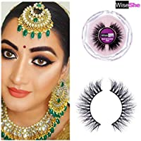 WISESHE Geet 3D Mink Party/Bridal Eyelashes Light Weight Natural Looking Soft Reusable Eyelashes Hand Made Beauty for Women's Make Up