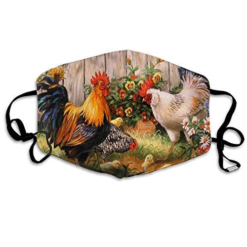 Mundmasken Huhn Garten Blumen Malerei Ohrschlaufe Mundmaske – Verstellbares elastisches Band für Malerei Outdoor, Anti-Keime, ()
