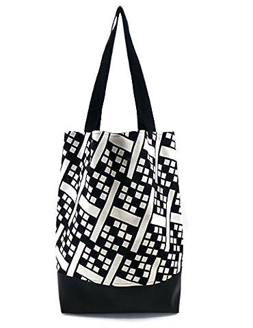 Colorblind Patterns Handgemachte Große Shoppingtasche. Mit und Kunstleder Boden und