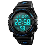 Mens Digital Sports Watch, Outdoors Running 5ATM Waterproof Military Watches, Cool Sport Large Face Wrist Led Watch with Alarm for Men