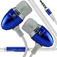 (Dark Blue) Bush E4X stylish Quality Aluminium In Ear Earbud Stereo Hands Headphones Ear phone Headset with Built in Micro phone Mic & On-Off by i -Tronixs