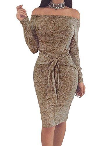 Donna Elegante Vestiti Abito Senza Spalline Vestito da Cocktail Slim Fit Maniche lunghe Abiti da Sera Cachi