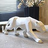 Telihome Décoration d'intérieur décoration Bureau Leopard Symbole de Richesse et d'autorité des Animaux,Artisanat créatif résine Blanc De