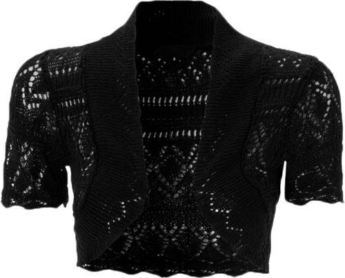 Kurze Damen-Strickjacke, gehäkelt, vorne offen, kurze Ärmel, Strick-Bolero Gr. 34-36, schwarz