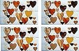 OOTB 4er Tischset: süßes Herzen Design bunt- Leichte Tisch Matten/Platzdeckchen / Tischunterlage/Essunterlage/ Platzset aus Kunststoff abwaschbar / 42 x 28 cm H03
