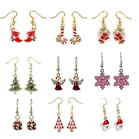 Mavis's Diary Bling Jewellery 9 Pairs of Bling Christmas Series Earrings for Pierced Ears Stocking Gift Glitter Xmas Earrings Pack of
