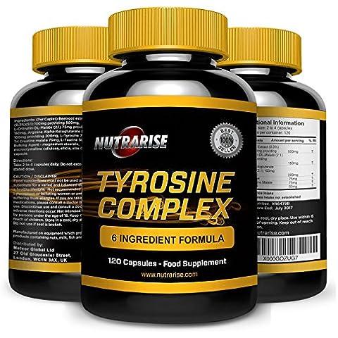 Complejo de Tirosina. L-Tirosina. Suplemento de aminoácido esencial. Grandes beneficios. Ayuda a regular el sueño. Aumenta la energía. Mejora el humor. Combate el estrés y la fatiga. 120 cápsulas de 500