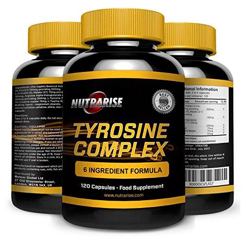 Complexe de L-Tyrosine avec AAKG L-Arginine Alpha-cétoglutarate, Extrait de Betterave et Malate de Citrulline: Régule le sommeil, améliore l'humeur, lutte contre le stress et la fatigue, 500mg, 90 capsules