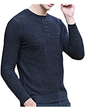 WTUS Crew Knit,Suéter de Moda Nuevo Otoño e Invierno para Hombre,Gris