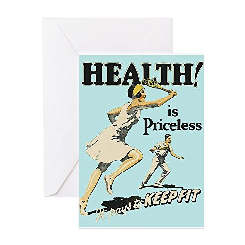 CafePress-Gesundheit, Tennis, Motivational Vintage Poster Greeti-Grußkarte, Note Karte, Geburtstagskarte, innen blanko, matt -