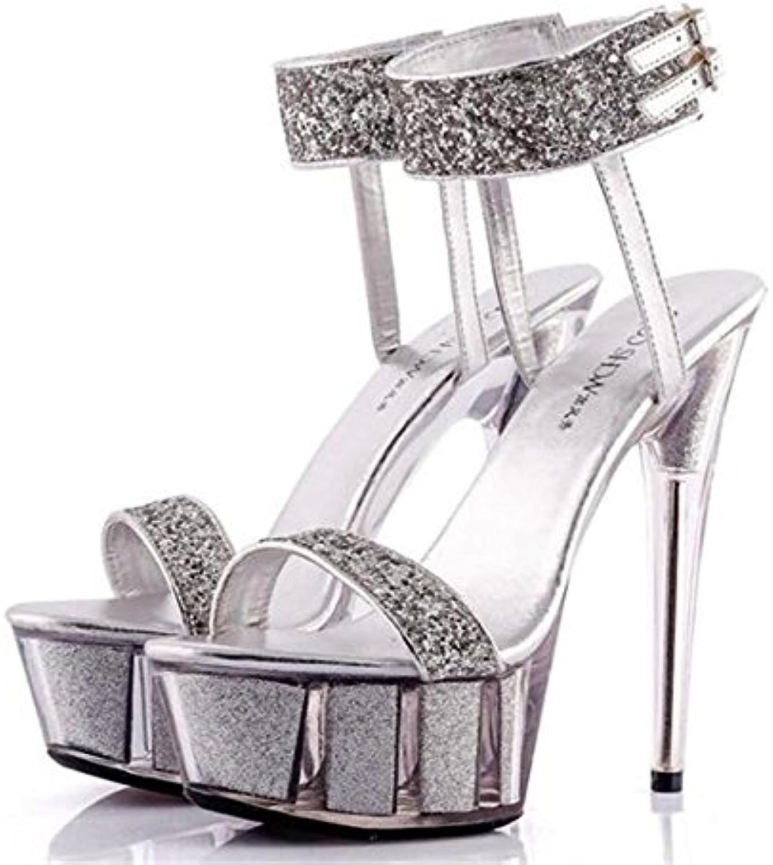 GAOGENX Scarpe da Donna Party Club Platform Tacco Tacco Tacco a Spillo di Cristallo Paillettes Glitter Sandalo Cinturino alla... | Good Design  9261f0