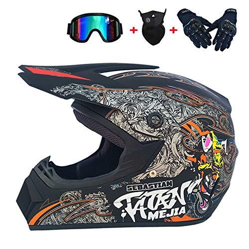 WOF Casco de Motocross para Adultos, para Todoterreno, cuatriciclo, cuatriciclo, cuatriciclo, Cuesta Abajo, Casco de Carreras MTB DH, Color 4#, tamaño Medium