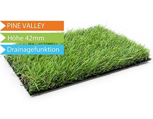 Kunstrasen Pine Valley hochwertige Rollrasenoptik, Florhöhe ca 40mm, UV-Sicherheit, Wasserdurchlässiger Fertigrasen für Balkon und Garten (Kunstrasen)