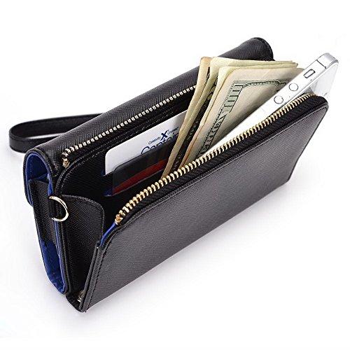 Kroo d'embrayage portefeuille avec dragonne et sangle bandoulière pour Alcatel POP D1Smartphone Black and Orange Black and Blue