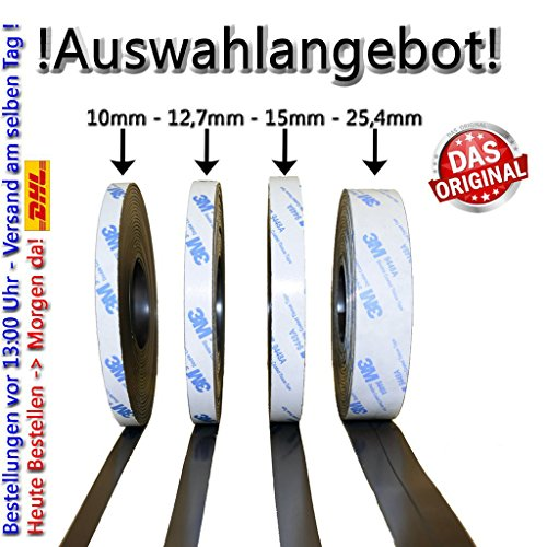AUSWAHLANGEBOT! Magnetband mit 3M Kleberücken selbstklebend 10 - 12,7 - 15 - 25,4mm Typ A + Typ B oder einzeln (10mm, Typ A) (Magnetische Gitter Tür)