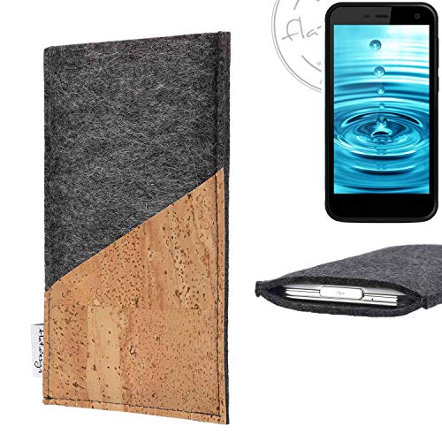 flat.design Handy Hülle Evora für Energizer H500S handgefertigte Handytasche Kork Filz Tasche Case fair dunkelgrau
