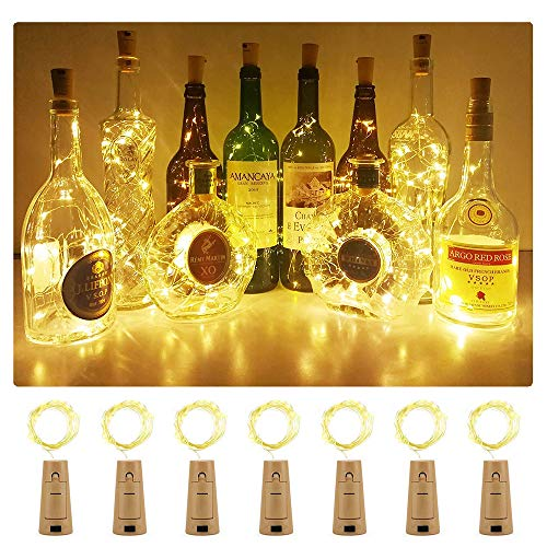 Luz Led Botella ,Luces Led Para Botellas, Luz de Bricolaje Flexible y Seguro Para , 20 LED Corcho Micro Luces para Entorno Romántico en Boda Fiestas DIY Halloween, Navidad-Blanco Cálido
