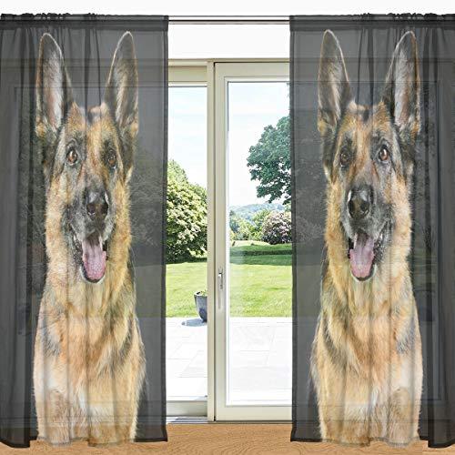 MyDaily Fenstervorhang mit deutschem Schäferhund, durchsichtig, 2 Paneele, 139,7 x 19,8 cm, Gardinenstange für Wohnzimmer, Schlafzimmer, Dekoration, Polyester, Multi, 55
