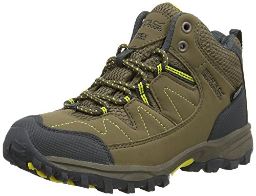 Regatta Unisex Kids' Holcombe Mid Jnr High Rise Hiking Boots, Beige (Walnt/Spryel), 3 UK 36 EU
