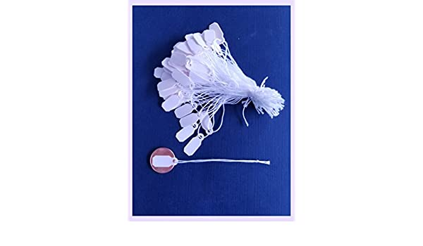 300 Pcs White Tear Proof Plastic String Price Jewelry Tags 1x2cm