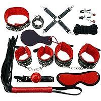 Set de sujeción de 10 piezas, kits de vendaje interior con esposas y látigo (rojo y negro)