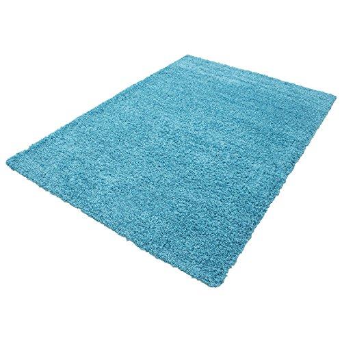 HomebyHome Shaggy Hochflor Langflor Einfarbig Günstig Teppich für Wohnzimmer mit Oeke Tex Zertifiziert 14 Farben und 17 Grössen, Farbe:Türkis, Größe:140x200 cm