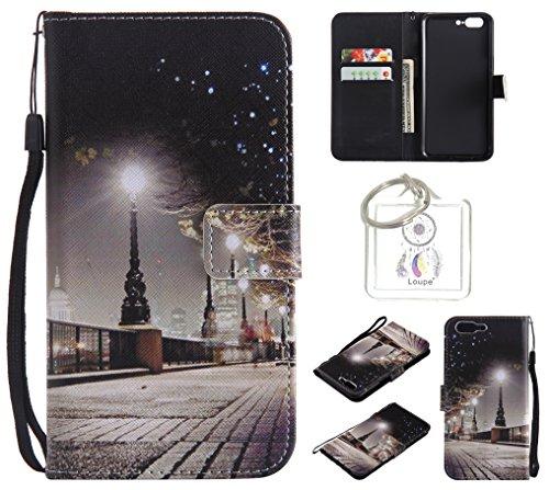 Preisvergleich Produktbild für One plus 5 PU Wallet Case Schutz Hülle für One plus 5 - Cover Flip Tasche mit Kartenfach in Buch Stil mit Kartenfach Standfunktion Magnetverschluss und Hand Wrist +Schlüsselanhänger (O) (1)