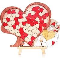 Libro de firmas para bodas alternativo enmarcado en madera con diseño único de corazón - Idea de regalo de libro de firmas para bodas - de Creawoo