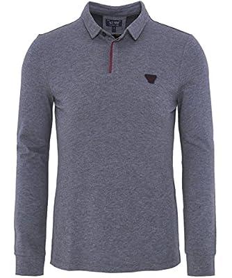 Armani Jeans Long Sleeved Polo Shirt Grey