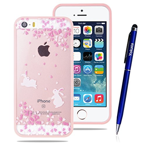 Coque iPhone 5 5S 5E, Yokata Étui de Protection PC Case, Transparent Ultra Mince Housse Protecteur, Cute Kawaii Cherry Tree Pink Fleur TPU Bumper Backcover et Tough Armor Animal Coque - Lapin, coques iphone