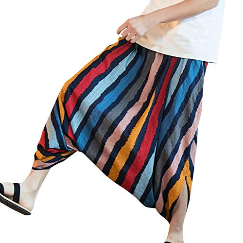 SOMESUN-Pantalons Sarouel Homme Festival du Lin Coton Baggy à Rayures RéTro Gypsy Couleur Bande Coton Sarouel Larg