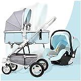 FAFY Travel System Poussette Pliable 3-en-1 avec Poussette Peut S'asseoir Ou Se Coucher Panier pour Bébé,Blue
