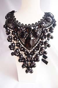 Perles et dentelle faite à la main Noir & Bavoir Fashion Jewellery Collier plastron Style