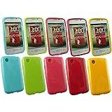 Emartbuy® LG L40 Glänzend Glanz Gel Hülle Schutzhülle Case Cover Packung 5 - Hot Rosa, Rot, Blau, Gelb, Grün