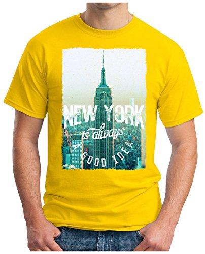 OM3 - NEW-YORK - T-Shirt IS ALWAYS A GOOD IDEA NY BRONX LA PD GANG EMPIRE USA Gelb